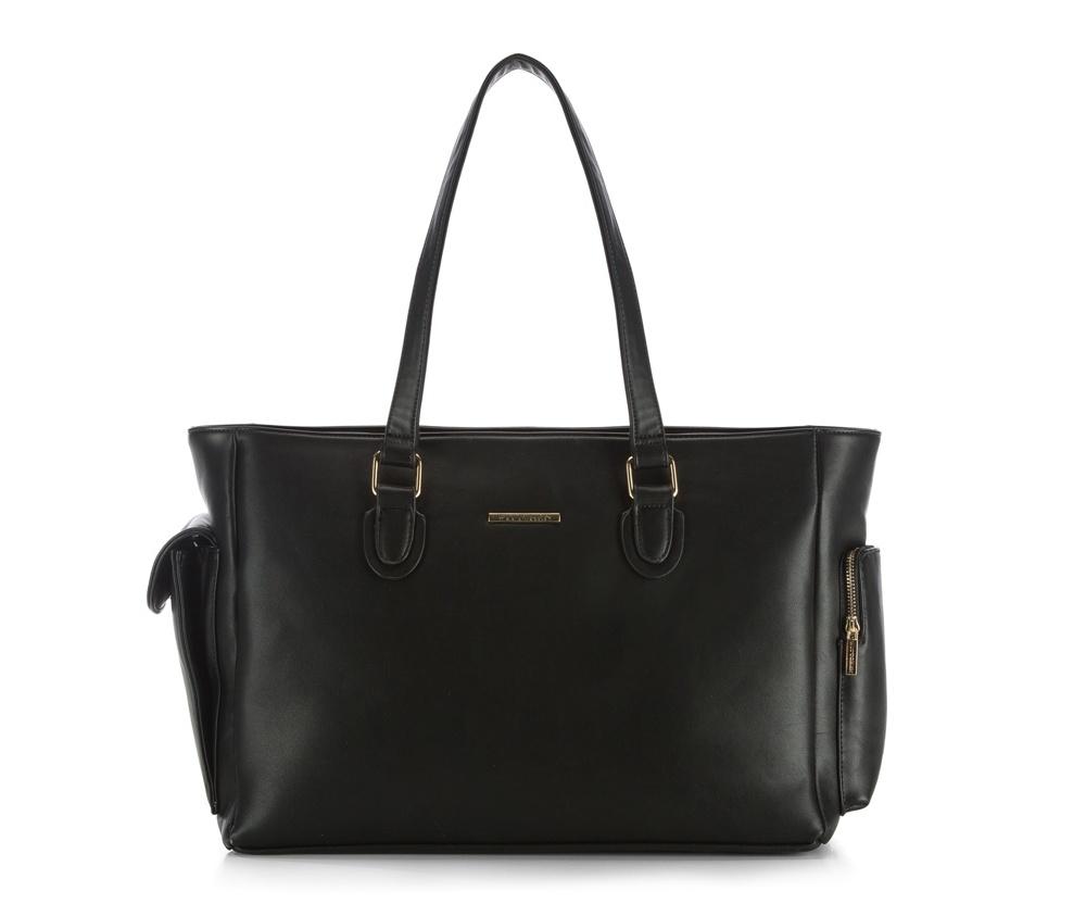 Женская сумкаЖенская сумка из коллекции E-BAG&#13;<br> E-BAG представляет собой сочетание классического стиля и современных решений.&#13;<br>Внутри специальные перегородки для аксессуаров, которые позволяют сохранить порядок внутри сумки. Основное отделение закрывается на молнию. Съемная внутренняя часть в виде органайзера с 2 карманами на молнии, местом для устройств с максимальными размерами: 24 см х 34 см, 2 карманами из сетки, в которых может храниться мобильный телефон, а также элементы питания, отделением для мобильного телефона , карманом для наушников и карманом на внешний жесткий диск.&#13;<br>Дополнительно карман на молнии и карман на магнитной застежке.<br><br>секс: женщина<br>Цвет: черный<br>вмещает формат А4: поместит формат А4<br>материал:: Экокожа<br>высота (см):: 30<br>ширина (см):: 42 - 53<br>глубина (см):: 18<br>размеры косметички (см): 25 см x 36 см x 12 см<br>общая высота (см):: 55<br>длина ручки/ек (см):: 78