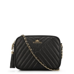 Leather quilted cross body bag, black, 29-4E-007-1, Photo 1