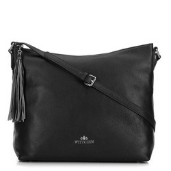 Women's leather hobo bag with tassel charm, black, 29-4E-008-1, Photo 1