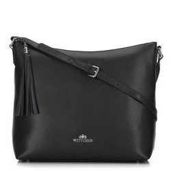 Women's leather hobo bag with tassel charm, black-silver, 29-4E-008-10, Photo 1