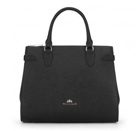 Skórzany kuferek o sztywnej konstrukcji, czarny, 89-4E-410-7, Zdjęcie 1