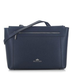 Tote bag from pebble-textured leather, navy blue, 91-4-702-7, Photo 1