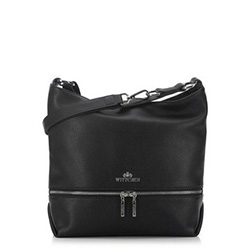 Women's hobo bag with decorative zip detail, black, 91-4-705-1, Photo 1