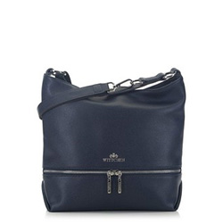Women's hobo bag with decorative zip detail, navy blue, 91-4-705-7, Photo 1