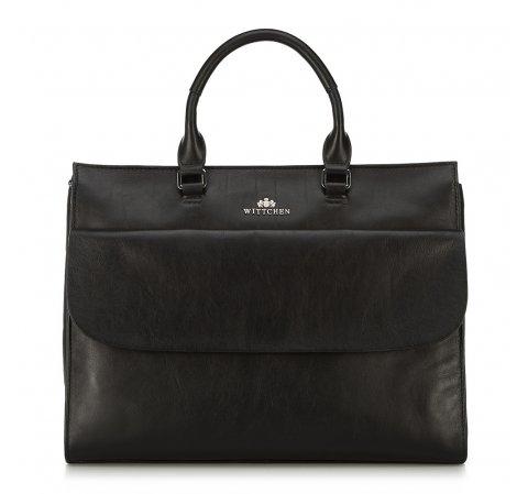 Kuferek skórzany na laptopa o klasycznym kroju, czarny, 91-4E-311-1, Zdjęcie 1