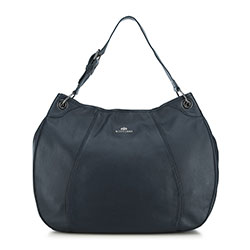 Women's leather hobo bag, navy blue, 91-4E-314-7, Photo 1
