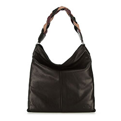 Women's hobo bag with braided handle, black, 91-4E-320-1, Photo 1