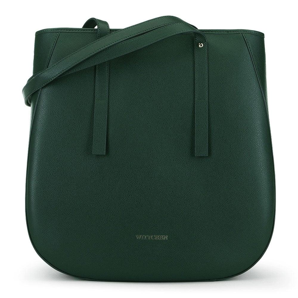 Torebka shopperka skórzana  z zaokrąglonymi brzegami, zielony, 91-4E-602-Z, Zdjęcie 1
