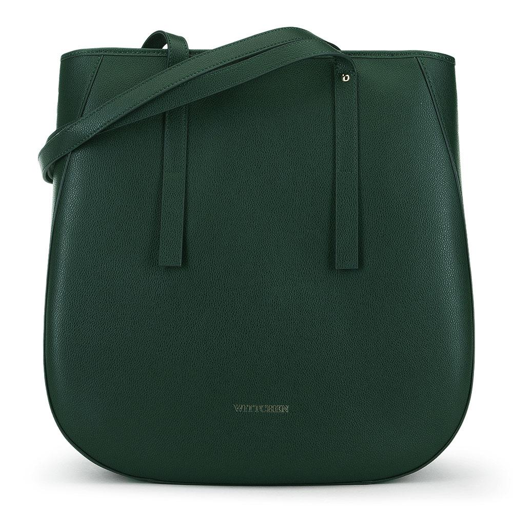Skórzana torebka damska typu shopper, zielony, 91-4E-602-Z, Zdjęcie 1