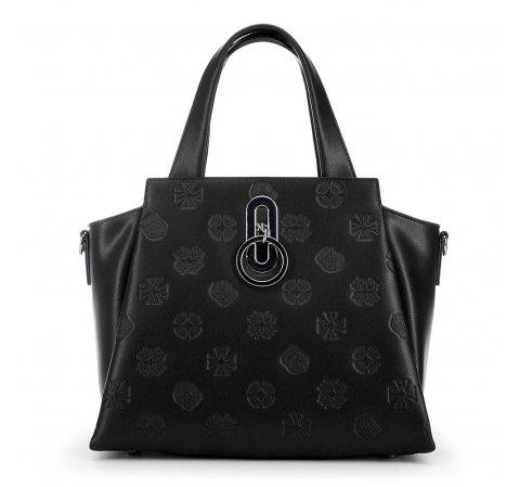 skórzana torebka damska typu kuferek, czarny, 91-4E-626-1, Zdjęcie 1