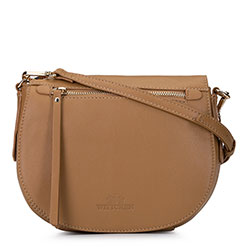 Damska listonoszka saddle bag z miękkiej skóry, camelowy, 92-4E-200-5, Zdjęcie 1