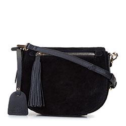 Damska listonoszka saddle bag z zamszu, czarny, 92-4E-206-1, Zdjęcie 1