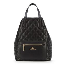 Damski plecak pikowany, czarny, 92-4E-616-1, Zdjęcie 1