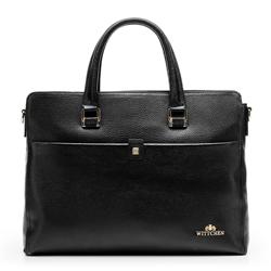 Damska torba skórzana na netbooka, czarny, 92-4E-638-1, Zdjęcie 1