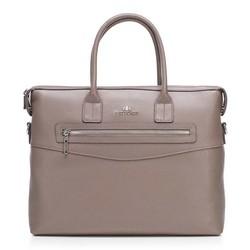 Damska torba na laptopa skórzana  klasyczna, beżowy, 92-4E-639-8, Zdjęcie 1