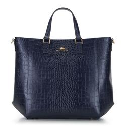 Classic leather shopper bag, navy blue, 92-4E-644-NC, Photo 1
