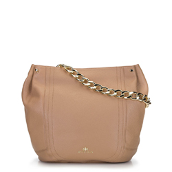 Leather hobo bag with a thick chain shoulder strap, beige, 92-4E-648-9, Photo 1