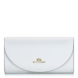 Kopertówka skórzana minimalistyczna, biały, 92-4E-659-00, Zdjęcie 1