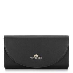 Kopertówka skórzana minimalistyczna, czarno - złoty, 92-4E-659-01, Zdjęcie 1