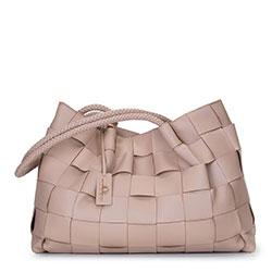 Leather woven shopper bag, beige - silver, 92-4E-900-9, Photo 1