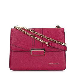 Leather chain shoulder flap bag, dark pink, 93-4E-624-P, Photo 1