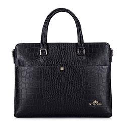 """Damska torba na laptopa 13"""" ze skóry croco, czarny, 93-4E-635-1, Zdjęcie 1"""
