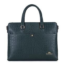 "Damska torba na laptopa 13"" ze skóry croco, zielony, 93-4E-635-Z, Zdjęcie 1"