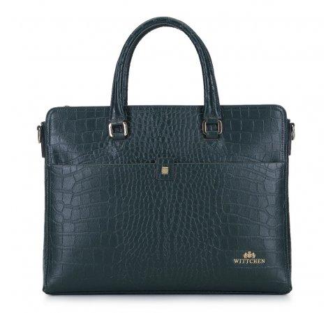 "Damska torba na laptopa 13"" ze skóry croco, zielony, 93-4E-635-1, Zdjęcie 1"