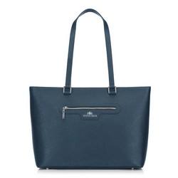 Torebka shopperka ze skóry klasyczna, niebieski, 29-4E-009-NN, Zdjęcie 1