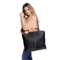 Women's leather shopper bag with zip detail, black, 91-4E-315-1, Photo 1