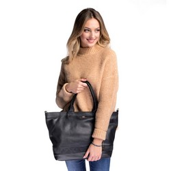 Women's leather shopper bag, black, 91-4E-318-1, Photo 1