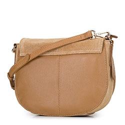 Damska listonoszka saddle bag z zamszu, camelowy, 92-4E-206-5, Zdjęcie 1
