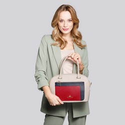Leather tote bag with multi-coloured pocket, beige-red, 92-4E-623-0, Photo 1