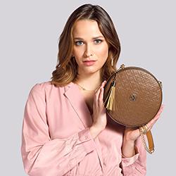 Torebka crossbody ze skóry okrągła – limitowana edycja, brązowy, 92-4E-662-5, Zdjęcie 1