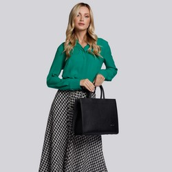Torebka skórzana minimalistyczna, czarny, 93-4E-616-1, Zdjęcie 1