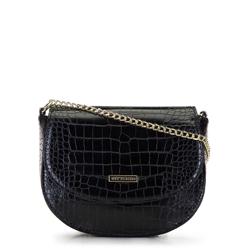 Torebka saddle bag z imitacji skóry krokodyla, czarny, 92-4Y-224-1C, Zdjęcie 1
