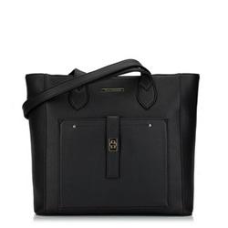 Torebka shopperka klasyczna z kieszenią z przodu, czarno - złoty, 29-4Y-002-1G, Zdjęcie 1