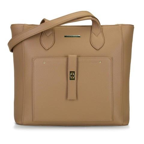 Torebka shopperka klasyczna z kieszenią z przodu, ciemny  beż, 29-4Y-002-N, Zdjęcie 1