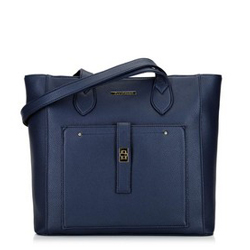 Classic shopper bag with front pocket, navy blue, 29-4Y-002-N, Photo 1
