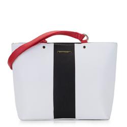 Torebka shopperka o kształcie trapezu, biało - czerwony, 92-4Y-208-0, Zdjęcie 1