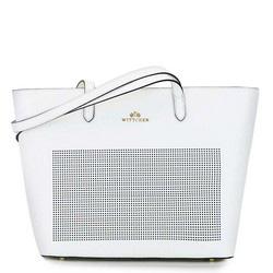 Torebka shopperka skórzana dziurkowana, biały, 92-4E-640-0, Zdjęcie 1