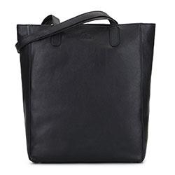 Torebka shopperka skórzana tote bag, czarny, 92-4E-203-1, Zdjęcie 1