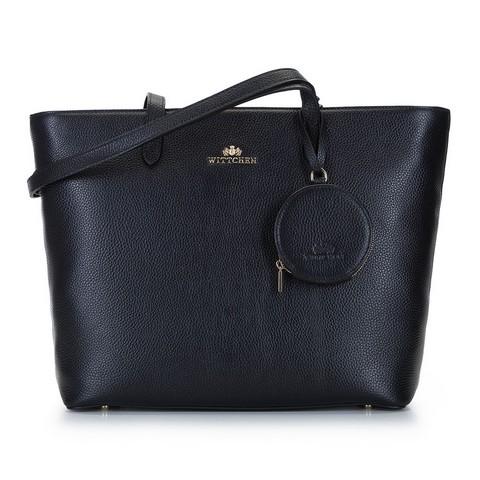 Torebka shopperka skórzana trapezowa, czarno - brązowy, 92-4E-642-11, Zdjęcie 1