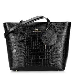 Torebka shopperka skórzana trapezowa, czarny, 92-4E-642-1C, Zdjęcie 1
