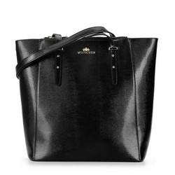 Leather shopper bag with pocket details, black, 92-4E-643-01, Photo 1