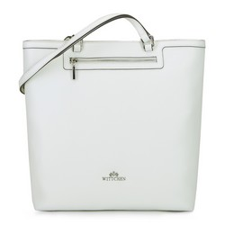 Torebka shopperka ze skóry prosta, biały, 92-4E-600-0, Zdjęcie 1