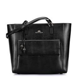 Torebka shopperka ze skóry z wysuniętą kieszenią, czarny, 93-4E-600-1, Zdjęcie 1