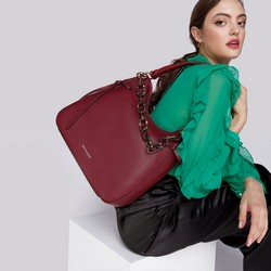 Large hobo bag, burgundy, 93-4Y-524-2, Photo 1