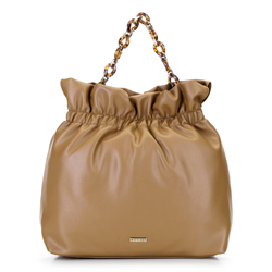 Large tote bag with tortoise shell chain shoulder strap, camel, 92-4Y-608-5, Photo 1