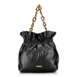 Small tote bag with tortoise shell chain shoulder strap, black, 92-4Y-609-1, Photo 1